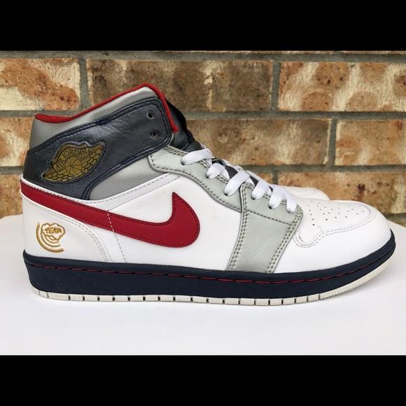 Usa Air Jordan Olympic Mid Retro Men's 2008 1 Nike b6vy7gfIY